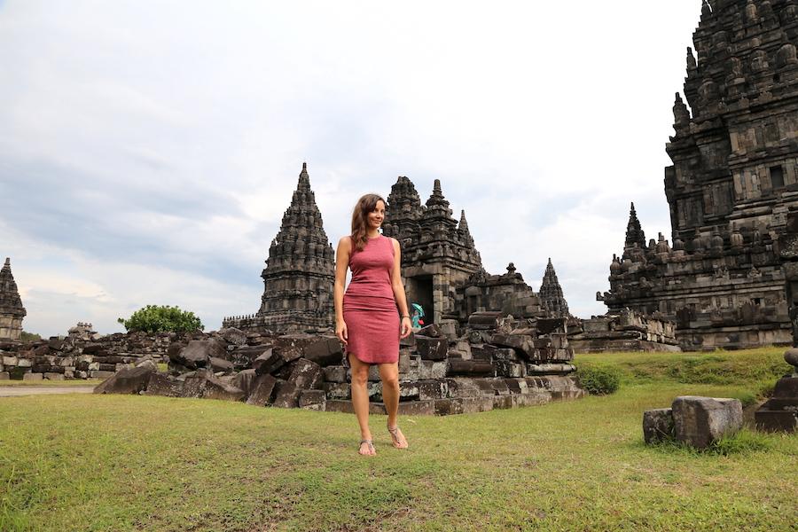 Annette White at Prambanan Temple in Yogyakarta, Indonesia