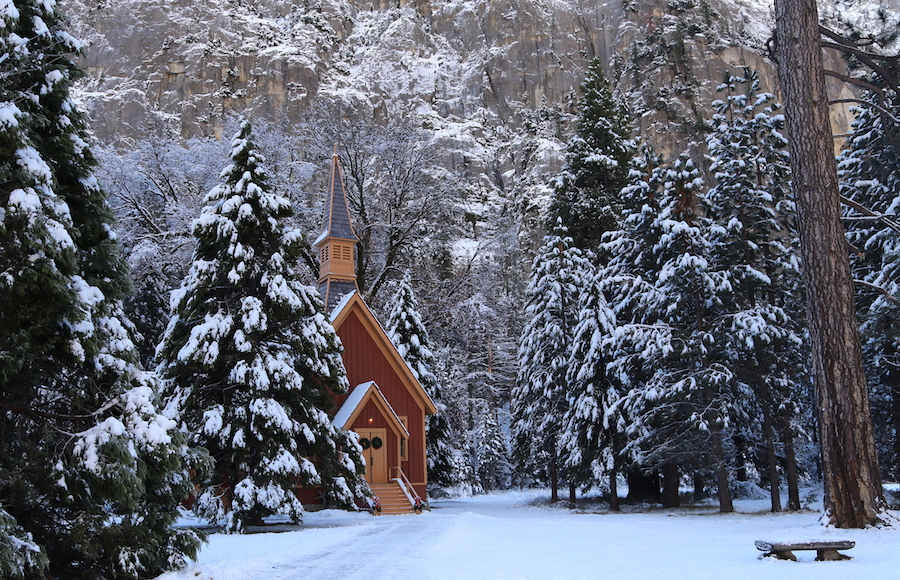 The cute chapel is a cute Yosemite Valley Winter Stop