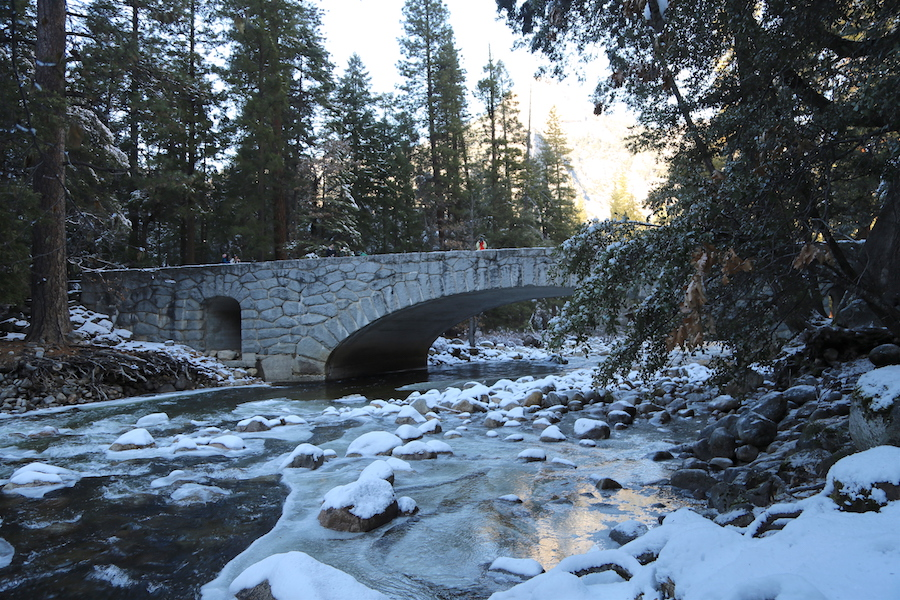 A bridge in Yosemite Valley National Park in the Winter