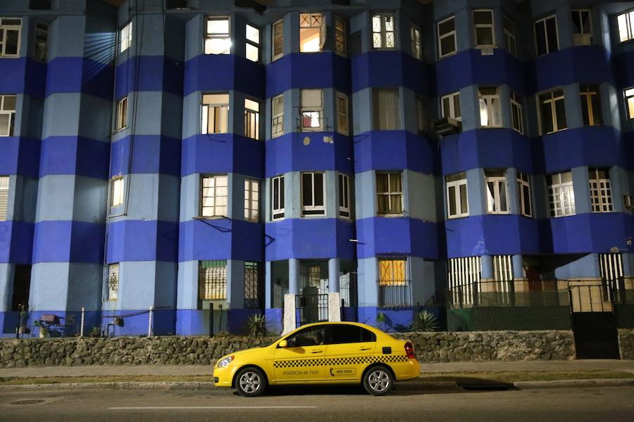 Yellow Taxi Cab in Havana, Cuba