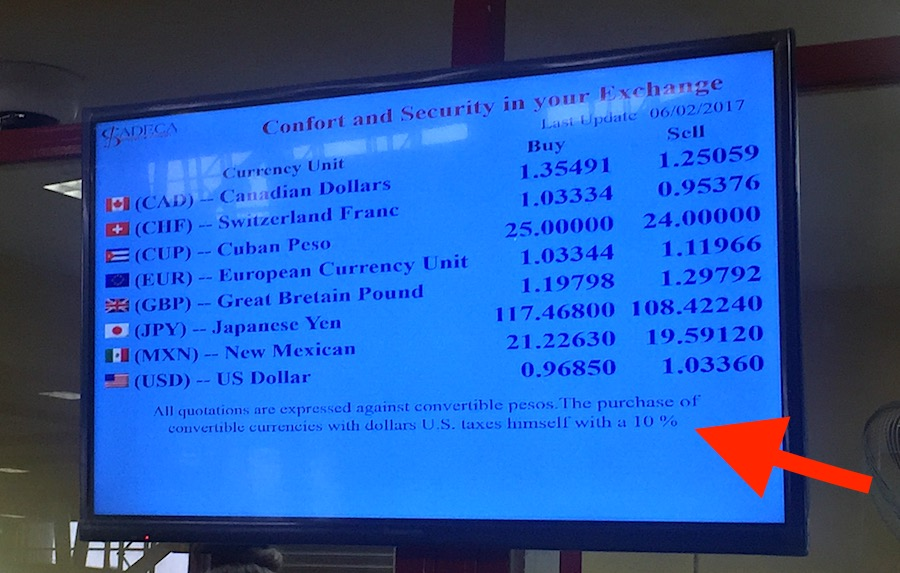 Currency exchange rates in Havana, Cuba