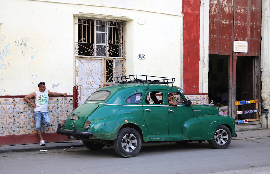 Vintage car on the streets of Old Town Havana