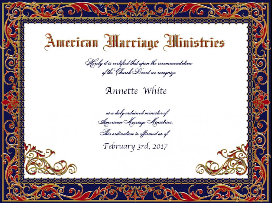 Annette White's Ordination Certificate