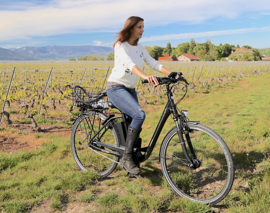 Viking European River Cruise Port: Annette White riding a bike through the vineyards of Geneva Switzerland