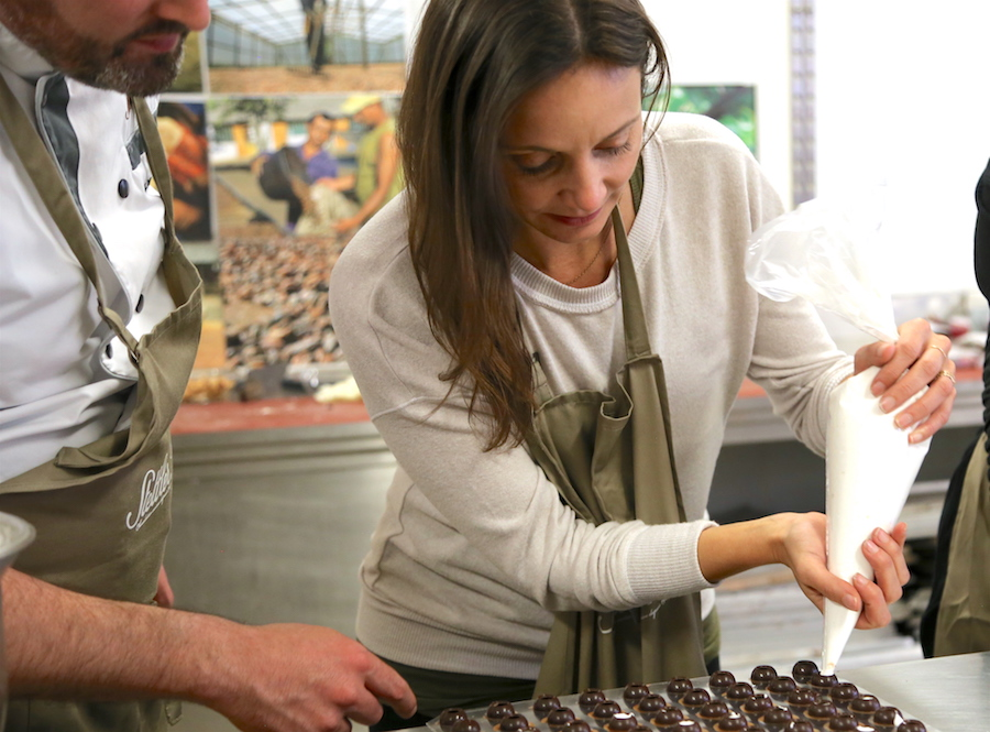 Annette White Learning How to make chocolate in Geneva Switzerland