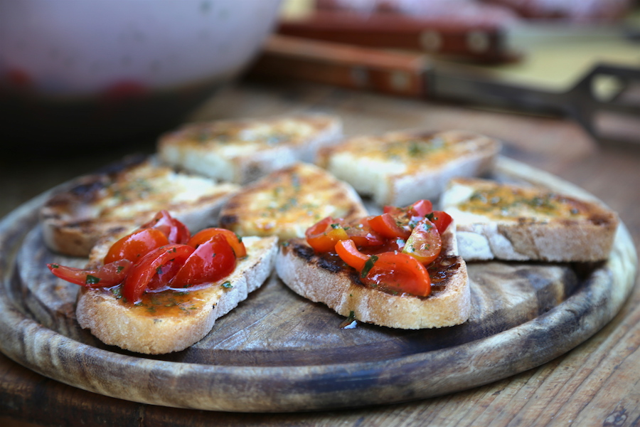 Traditional Bruschetta at Montestigliano Estate in Northern Italy's Tuscany