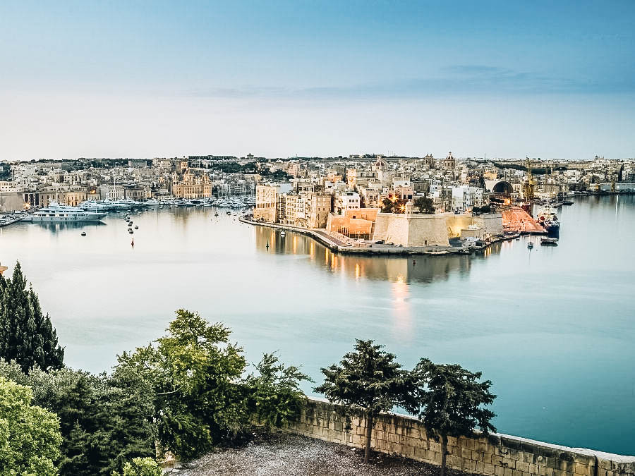 The beautiful view of the famous Grand Harbour in Malta