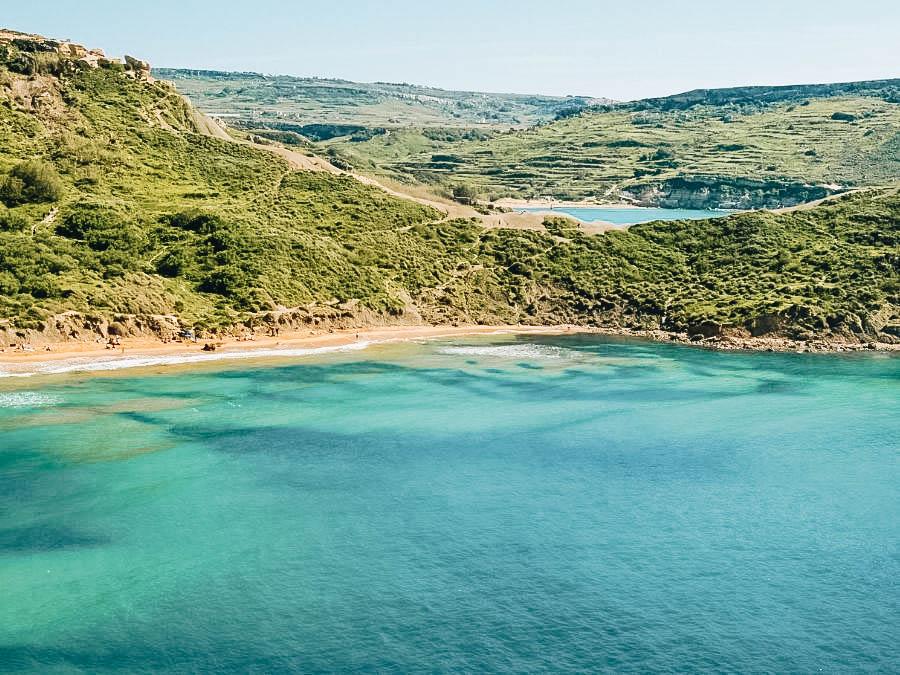 A beach in Golden Bay Malta