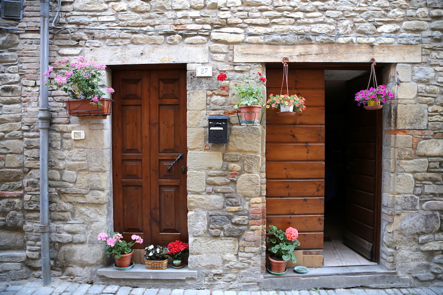 The doors of Mercatello sul Metauro in Le Marche, Italy