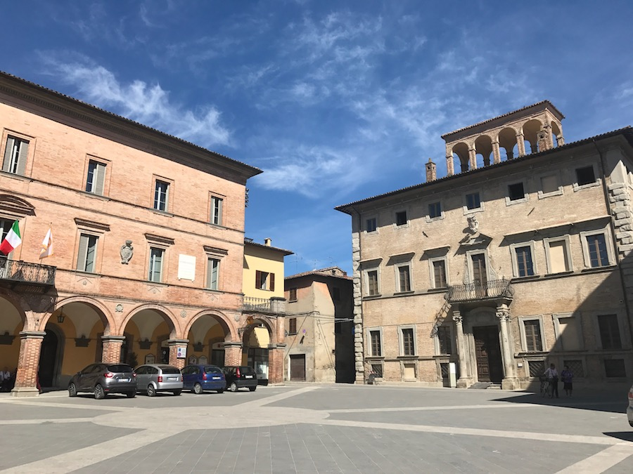 Central piazza in Mercatello sul Metauro in Le Marche, Italy