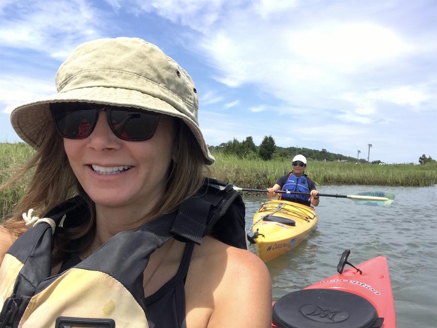 Annette White kayaking the barrier islands of the Eastern Shore of Virginia