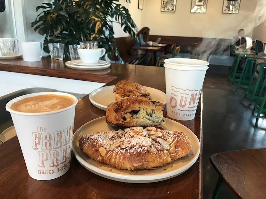 Pastries and coffee from French Press in Goleta, California