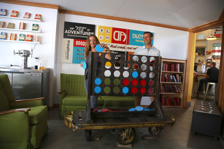 Peter & Annette White playing connect four in Goleta, California