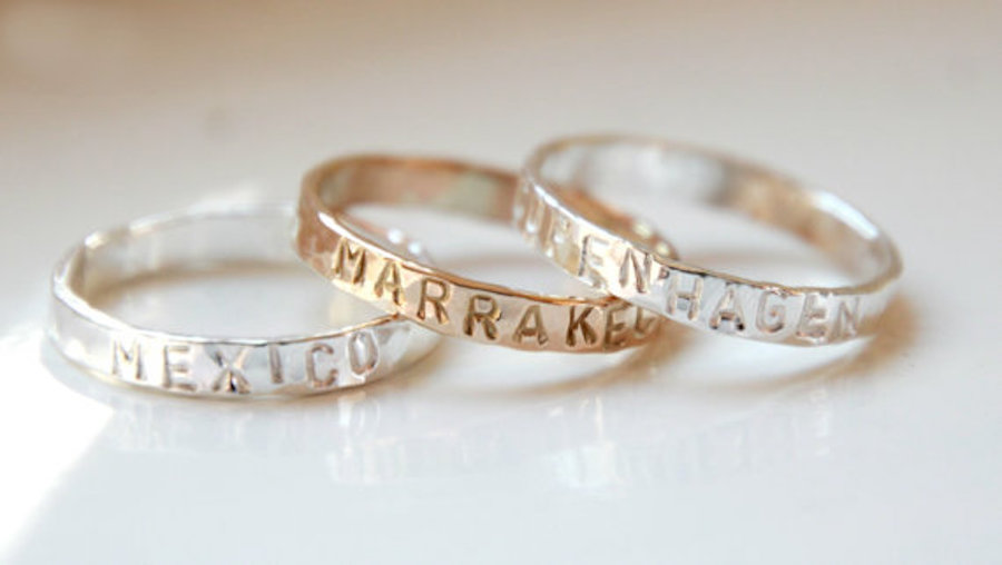 Hand stamped stacking travel jewelry ring
