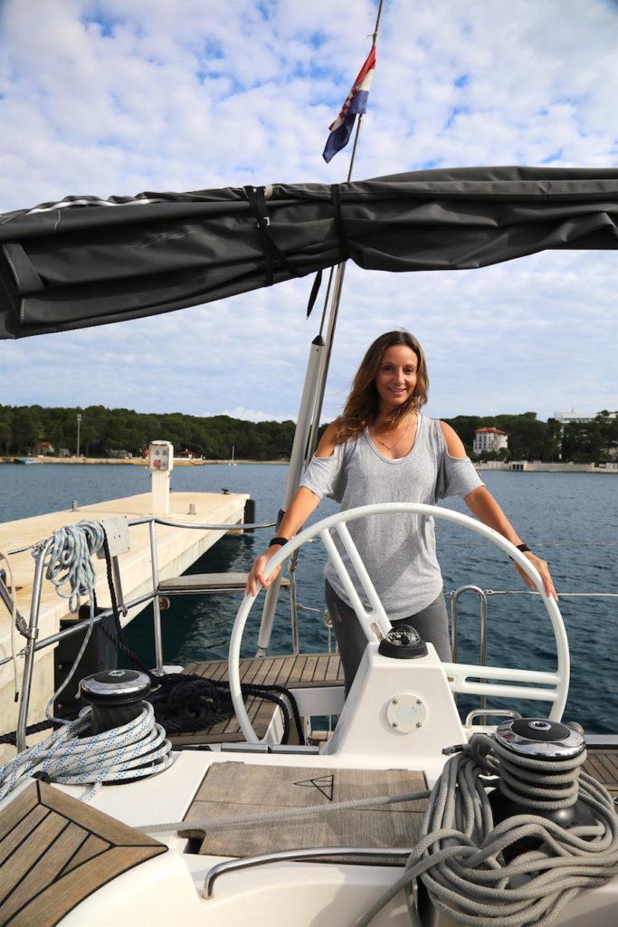 Annette White sailing a yacht in Losinj Croatia