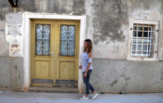 Annette White walking in Ilovik in Losinj Croatia