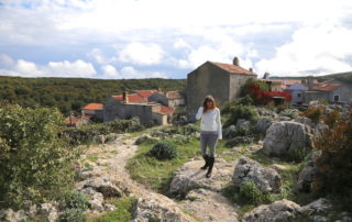 Annette White strolling through Lubenice in Cres Croatia