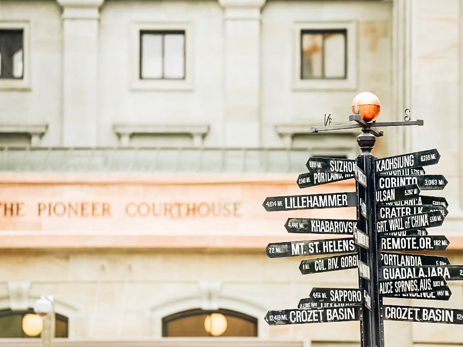 Signages at Pioneer Courthouse Square