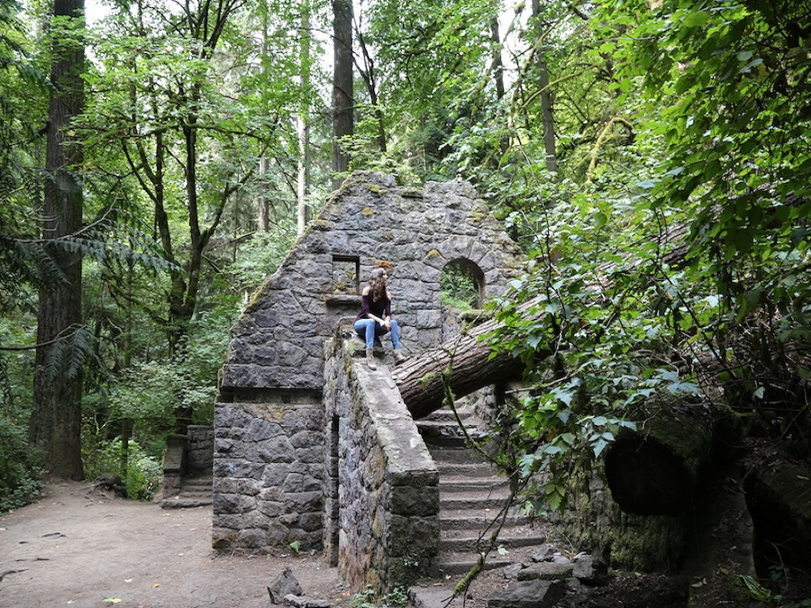 Annette at The Witches Castle at Forest Park