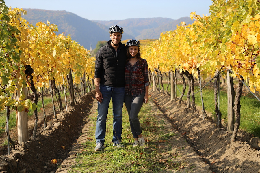 Viking European River Cruise: Peter & Annette White in the vineyards of Krems Austria