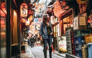 Annette white in piss alley in tokyo, Japan