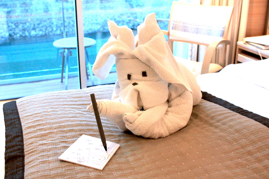 Onboard the Viking European River Cruise:Towel animal in the Viking River Cruise room