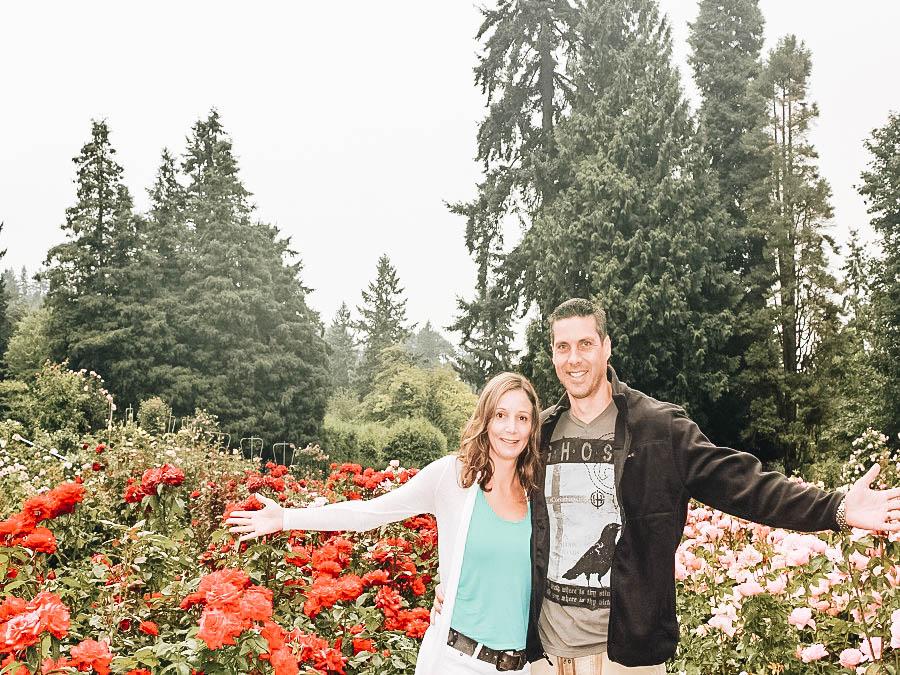 Annette and Peter on International Rose Test Garden Portland