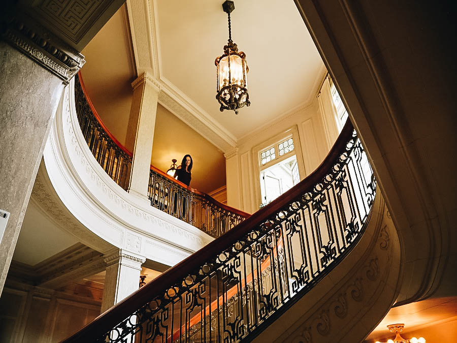 Annette inside the Pittock Mansion Portland Oregon