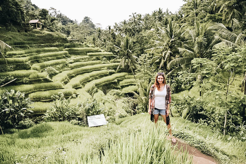 Annette White at alk through a Rice Terrace in Indonesia