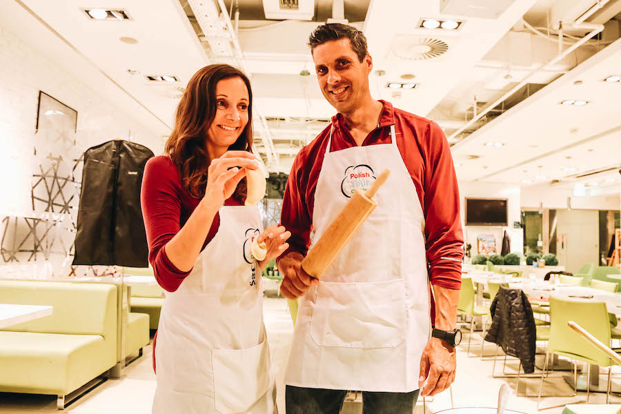Annette & Peter White taking a cooking class in Warsaw, Poland