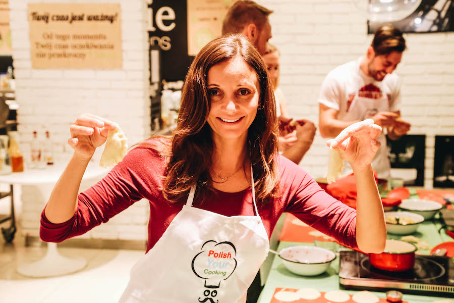 Annette White taking a cooking class in Warsaw, Poland