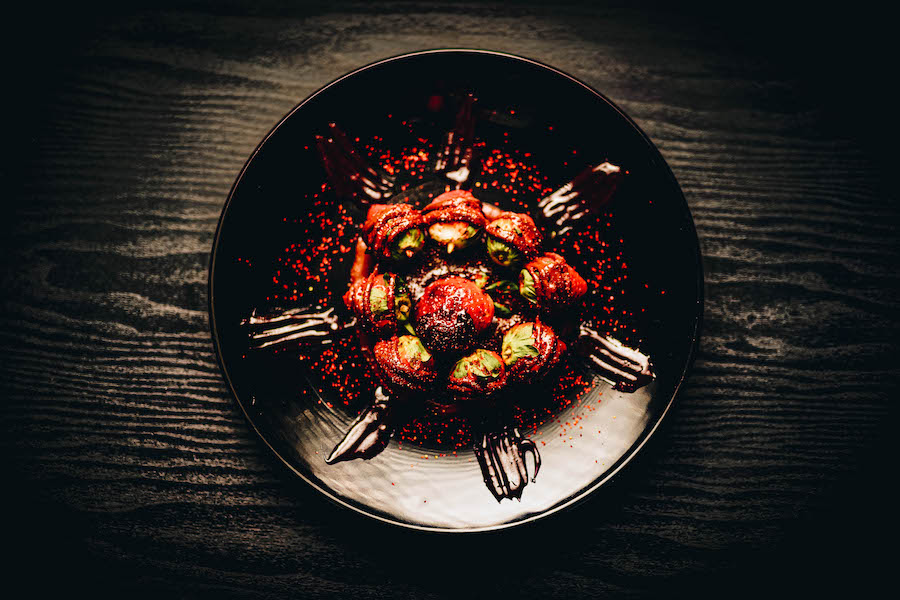 A plate of chocolate strawberries
