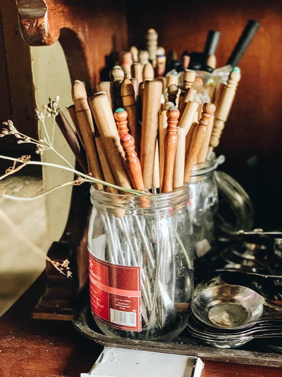 Fondue utensils for Comte Cheese at La Maison du Comte