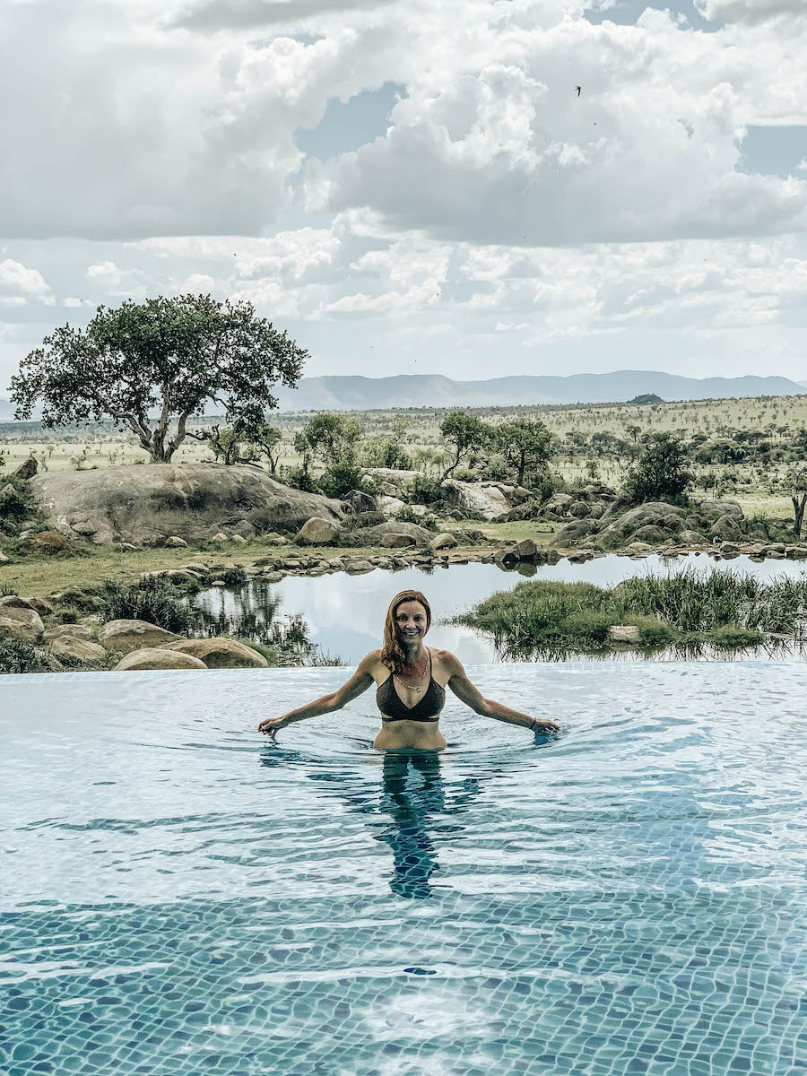 Annette White at the Pool at Four Seasons Safari Lodge in Serengeti National Park