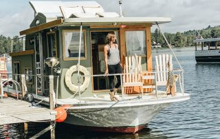 Annette White on a Houseboat Hotel in Rangeley Maine