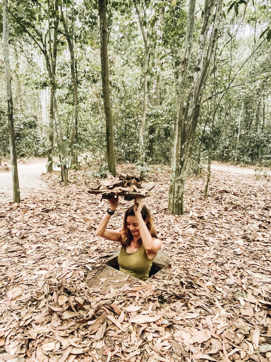 Annette White at Cu Chi Tunnels in Vietnam