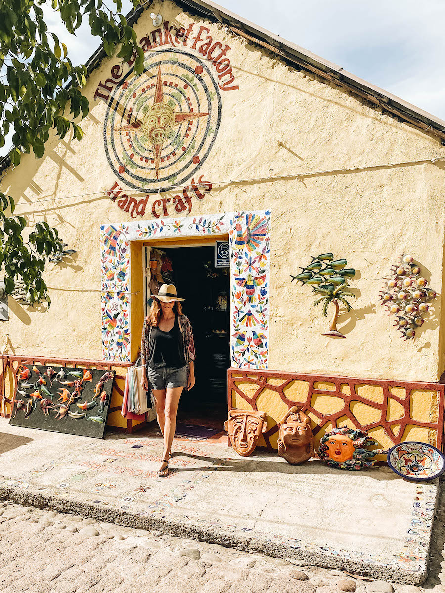 Annette White shopping in historical downtown loreto