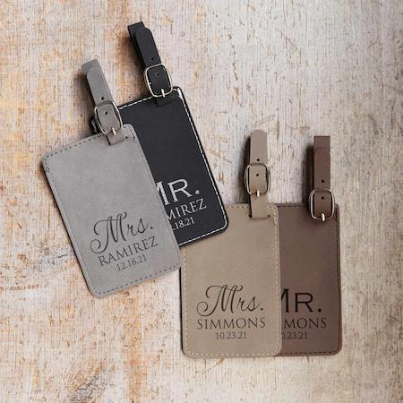 Mr. & Mrs. Engraved Leather luggage tag
