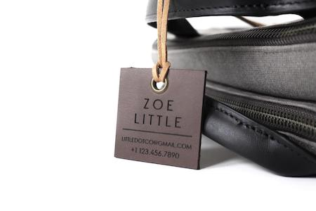Engraved Square Leather luggage tag