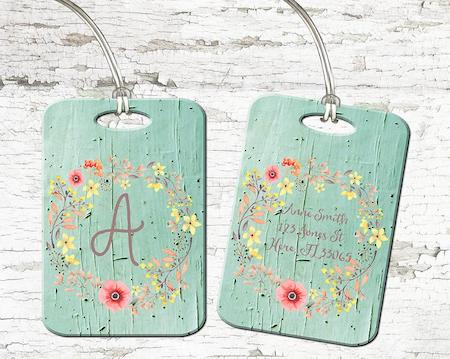Monogrammed Floral Wreath Luggage Tag, Poppies on Mint Wood,