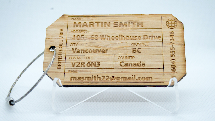 Personalized Wood Luggage ID Tags