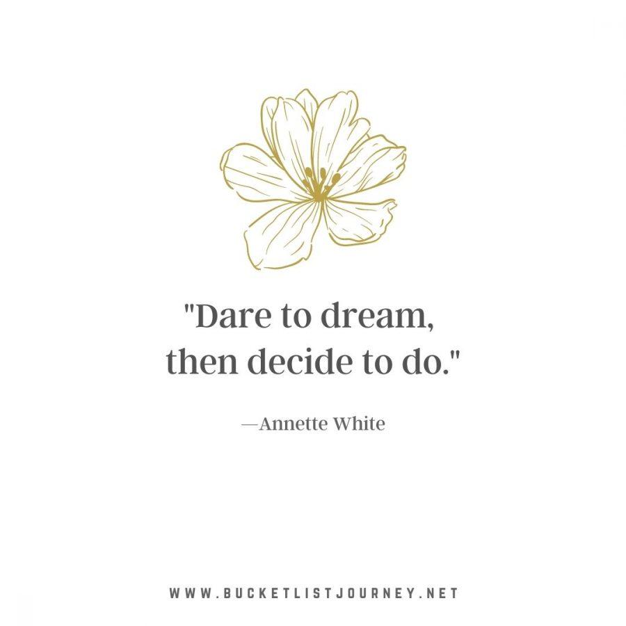 """""""Dare to dream, then decide to do."""" —Annette White"""