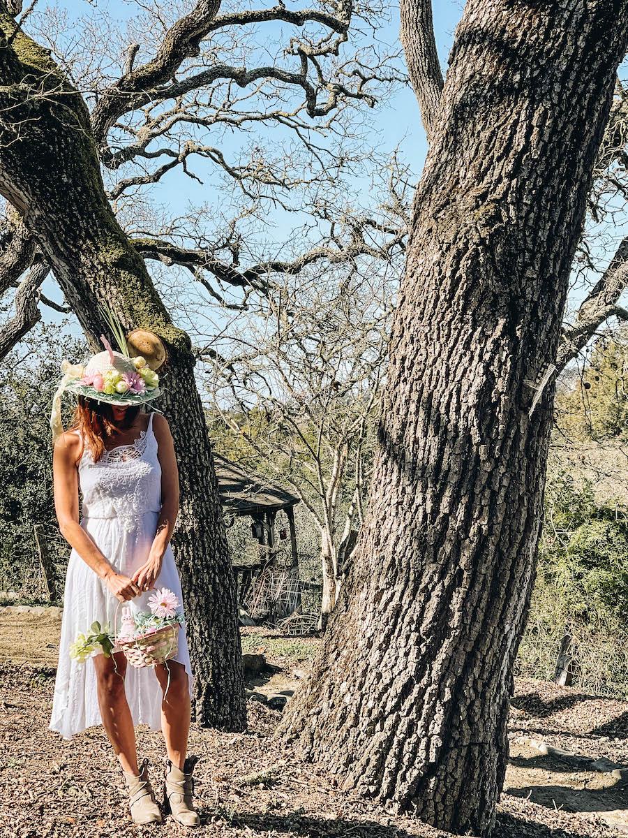 Annette White wearing her Handmade Easter Bonnet