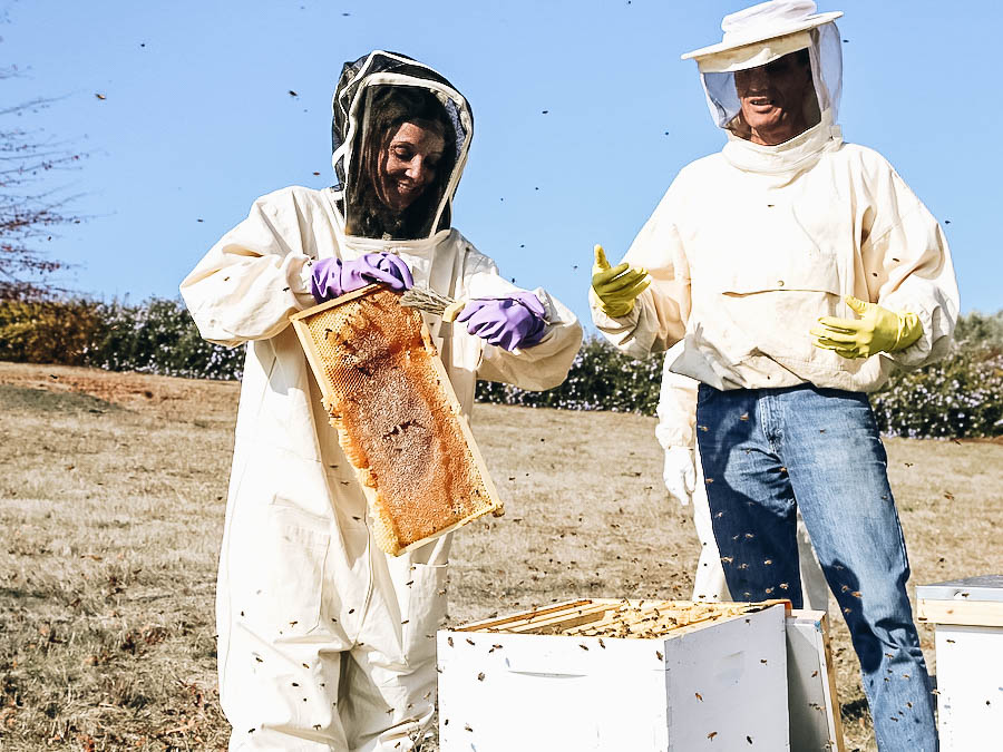 Annette enjoying a hobby day of beekeeping