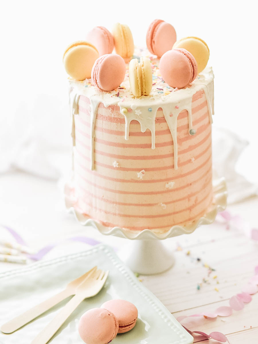 A beautifully designed pink cake