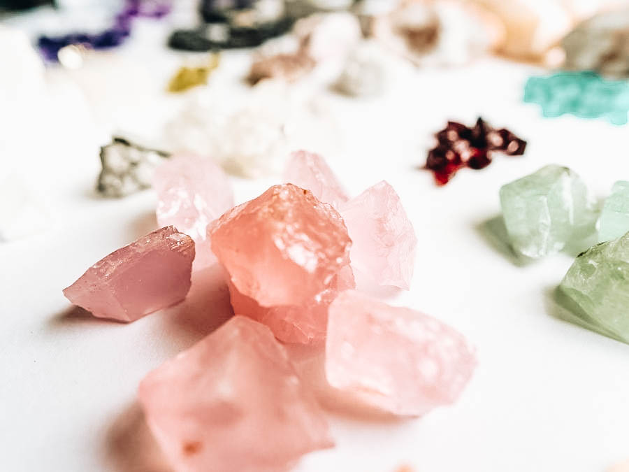 Precious Stones collection on a white table