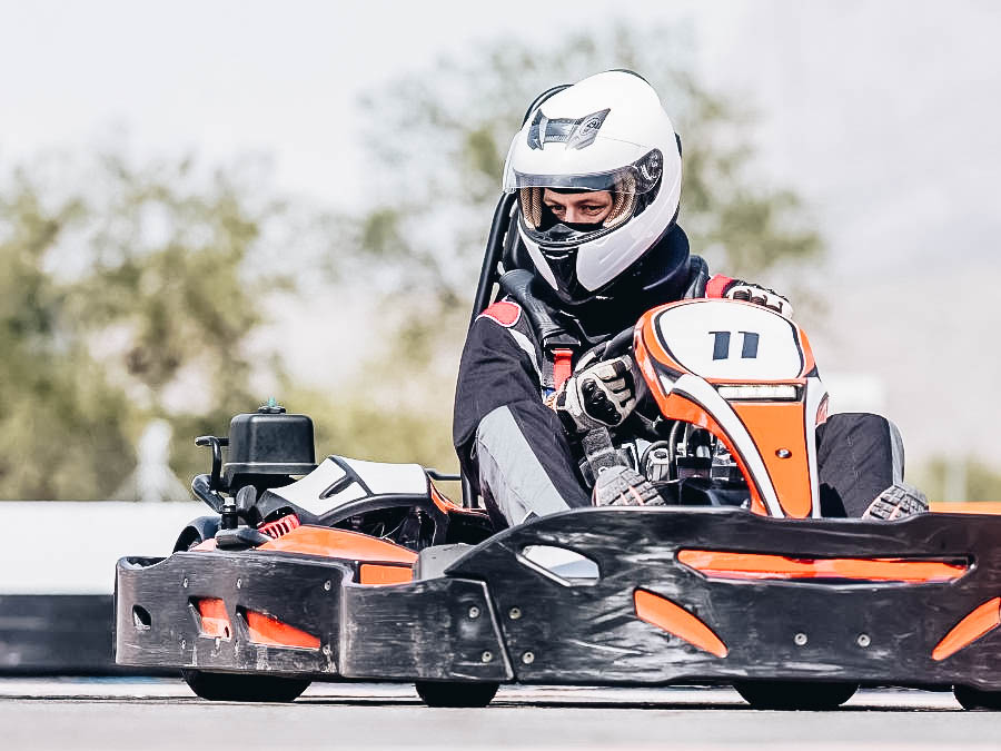 A racer in his Go Kart during a race