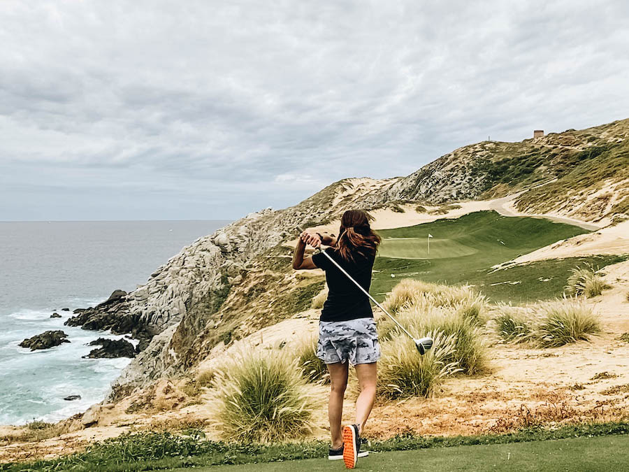 Annette playing golf