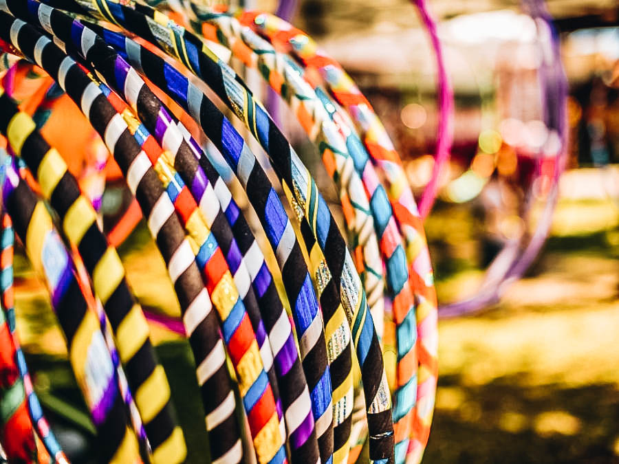 Different types of colorful hula hoops