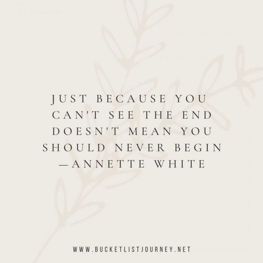 Just because you can't see the end doesn't mean you should never begin (Quote by Annette White)